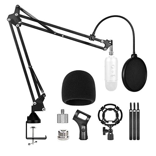 Microphone Stand for Blue Yeti with Mic Pop Filter Shock Mount,Desk Adjustable Mic Boom Scissor Arm Stands for Blue Yeti Snowball,Radio Broadcasting and Recording