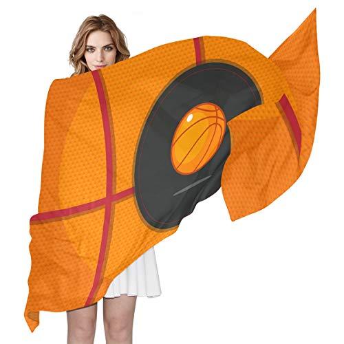 LORONA Bufanda de baloncesto abstracta para mujer con sensación de seda, bufandas largas, chal ligero