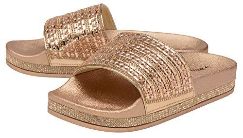 Dunlop Damen Slipper Sandalen Sommer Flip Flop Schuhe Größe 38-44, Gold (rose gold), 37 EU
