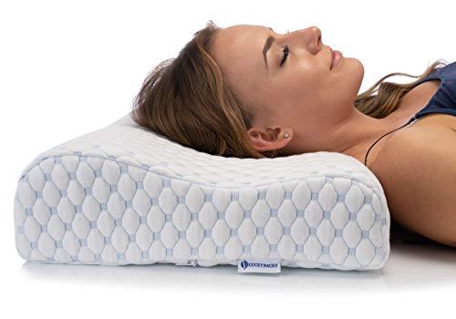 Luckybacks Memory Foam Kopfkissen, Orthopädisches HWS Nackenstützkissen mit Kissenbezug, Konturierter Ergonomisches Memory-Schaum zur Unterstützung von Kopf und Nacken