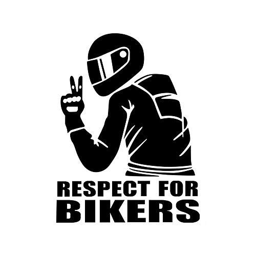 EROSPA® Aufkleber KFZ Auto Motorrad - Respect for Bikers - Car-Sticker (Schwarz)