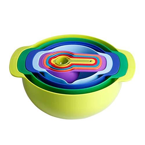 MOCOLI 10pcs Juego de Herramientas de Cocina Multifuncional Cuencos Rainbow Color Taza de medir Bol para Mezclar Accesorios de Cocina
