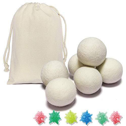Palline per asciugatrice, gomitoli di lana100% lana neozelandese,riutilizzabili ammorbidenti naturali,riducono l'aderenza statica,accorciano il tempo di asciugatura,(12pcs)