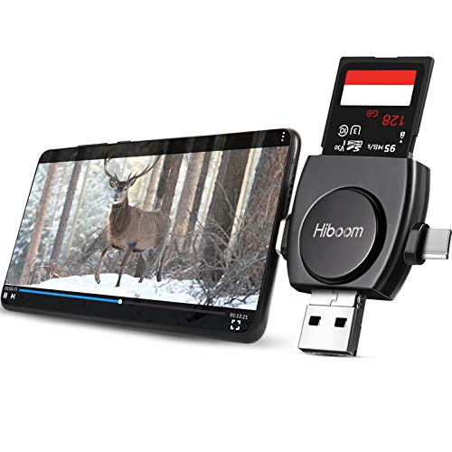 Trail Camera Viewer Compatible with iPhone iPad Mac Android, 4 in 1 SD and Micro Card Reader to View Photos from Wildlife Hunting Game Camera on Smartphone for Hunter with iOS, Android Devices