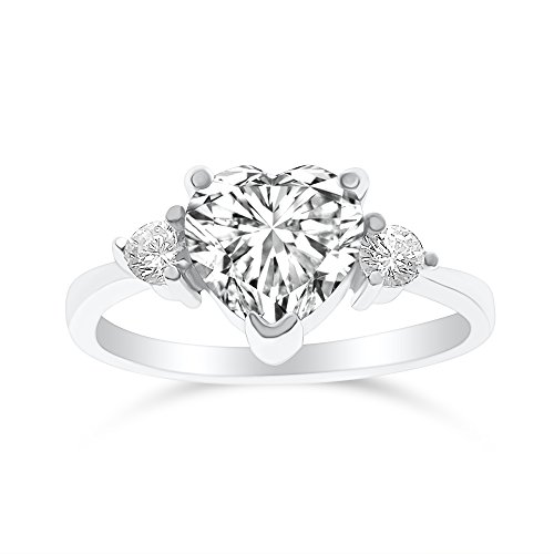 DTLA Sterling Silver Cubic Zirconia Heart Promise Ring for Her - Clear (9)