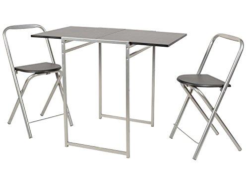 ts-ideen Set 3 Pezzi Tavolo Estendibile con 2 sedie in Alluminio e MDF Color Nero per Cucina Sala da Pranzo o Ufficio