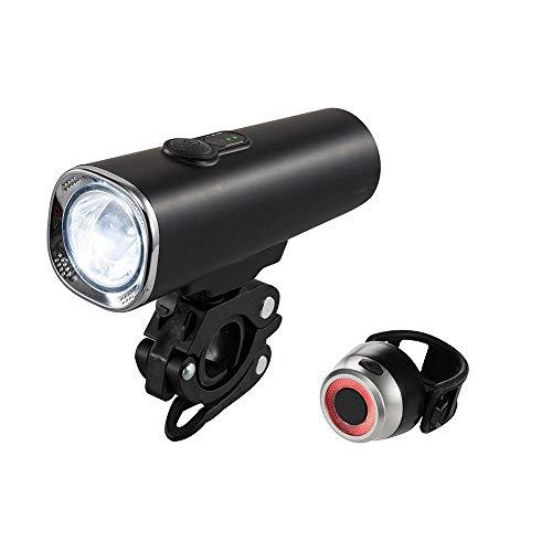 XWYWP Juego de luces de bicicleta superbrillantes de 600 lúmenes, recargable por USB, luz LED para bicicleta, rango cercano, IPX5, indicador de alimentación compatible con todas las bicicletas
