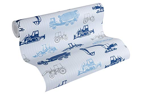 Esprit Kids Vliestapete Tractors Tapete 10,05 m x 0,53 m blau grau metallic Made in Germany 357064 35706-4