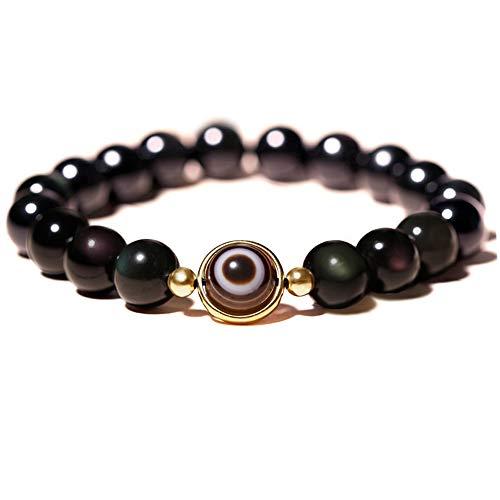 L&C Feng Shui Black Obsidian Wealth Bracelet - 8MM 10MM Women Mens Bracelets Natural Black Obsidian Crystal Evil Eye Agate Bring Luck Prosperity Elastic Stretch Beaded Bracelet for Woman Men (10MM)