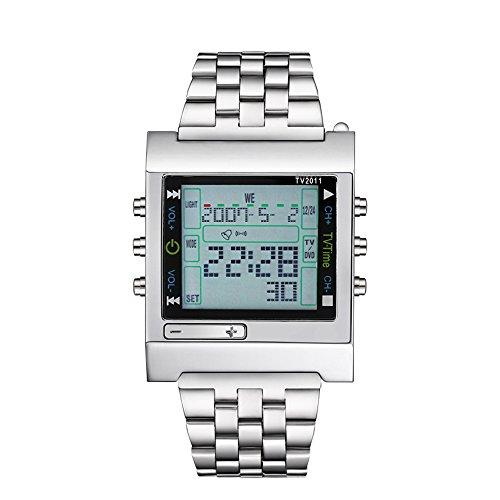 FENKOO Da Uomo Orologio da Polso Digitale LED Telecomando Calendario Allarme Cronometro Acciaio Inossidabile Banda Argento Marca