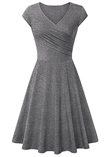 EFOFEI Vestido de Verano con Cuello en V para Mujer Vestido Retro Midi Vestido Mini Delgado Gris L