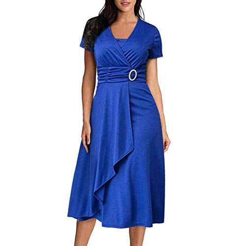 Damen Sexy Asymmetrisches Kleid mit großem Pendel, V-Ausschnitt, hohe Taille, mittellang, einfarbig, Abendkleid