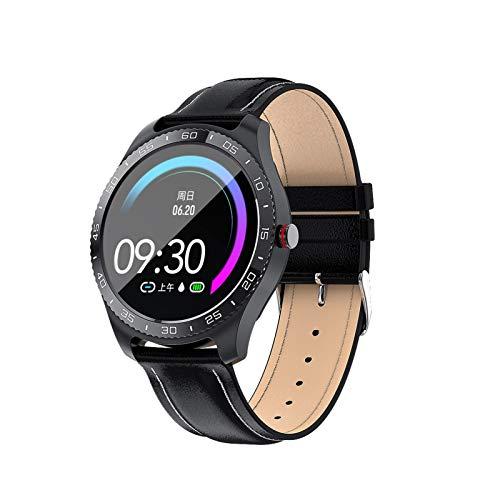 Reloj inteligente con pantalla táctil completa, correa de piel, monitor de ritmo cardíaco, reloj inteligente para hombres para negocios y Android e iOS (color negro)