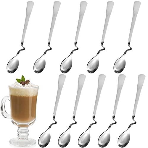 Cucharas de Mermelada,Forreen 10 Piezas Cuchara de Miel Cuchara para Revolver Cuchara de Café de Acero Inoxidable con Mango Curvado para Hogares Cafés Tiendas de Postres