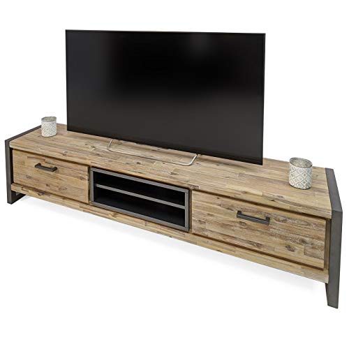 MÖBEL IDEAL TV Lowboard Oli B 190 x T 42 x H 45 cm Akazie Massivholz TV Board mit Metallrahmen in Nebelgrau lackiert