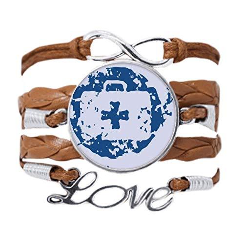 DIYthinker Azul Kit de Primeros Auxilios de diseño ilustración Patron Ronda Pulsera de Cuero Negro Trenzado Pulsera de Cuerda de Amor