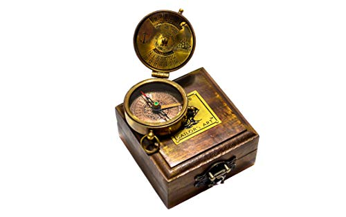 Sailor's Art Pocket Compass-Antique Handcrafted Brass Compass with Case Box-Clock Camping Travelling Equipment-Sailor's Marine Boat Gifts-Direction Navy Compass-Vintage Home Décor Item