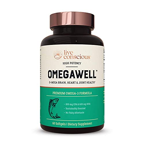 OmegaWell Fish Oil: Heart, Brain, and Joint Support | 800 mg EPA 600 mg DHA - Natural Lemon Flavor, Enteric-Coated, Sustainably Sourced - Easy to Swallow 30 Day Supply