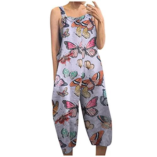 Combinaison dété pour femme - Combinaison sans manches - Baggy - Décontracté - Imprimé animal - Vintage - Combinaison élégante - Pantalon ample avec poches latérales - Larges jambes - Beige - Medium