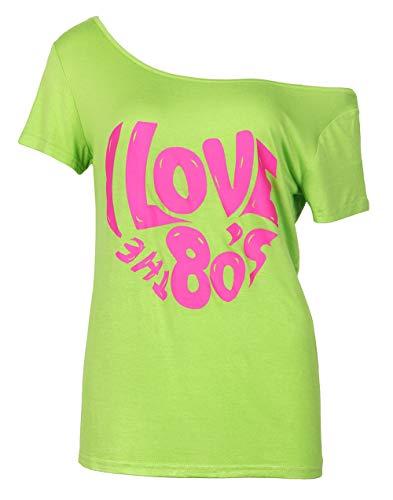 """80er-Jahre-Top von Smile Fish, für Damen, """"I love the 80s""""-Druck, leger, übergroß, retro, Party-T-Shirt/-Top Gr. Large, Neon Green3"""