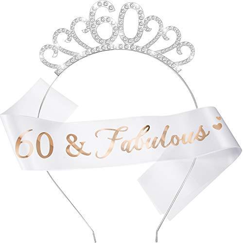 WILLBOND 60 Conjunto de Disfraces de Feliz Cumpleaños, Incluye Tiara de Cristal Corona del 60 Cumpleaños y 60 Faja Fabuloso para Favor de Cumpleaño