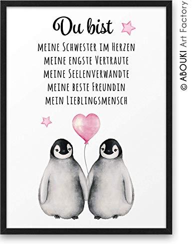 PINGUIN Du bist meine beste Freundin ABOUKI Kunstdruck - ungerahmt - Geschenk-Idee Geburtstag Weihnachten Freundschaft für Sie Frau Freundin Freundinnen DIN A4