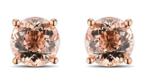 AMDXD 18 Karat Gold Damen Ohrringe Glitzer Ohrstecker Rose mit Hell Braun Rosa Beryll