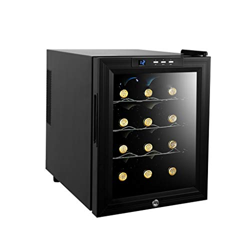 Nuitab 12 flessen wijnkoelkast 33L wijnkoeler glazen deur 4 Selves 33L 12-18° C temperatuur zone drank celler koelkast slot en sleutel zwart 48 × 35,5 × 50,3 cm