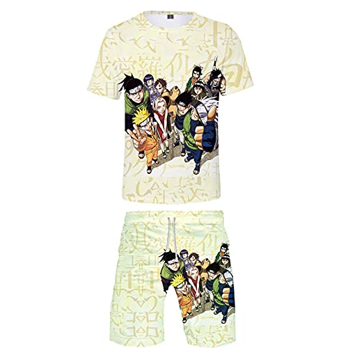 ZOSUO Men Women NARUTO Anime Short Sleeve T-Shirt And Shorts Sets 2 Piece Cosplay Hatake Kakashi Outfit Sweatshirt Sweatpants for Teens,Beige,XL