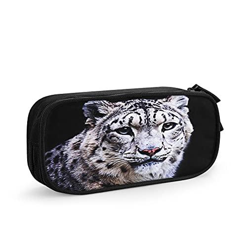Cara de gato leopardo de las nieves Estuche Escolar Multifuncional Estuche De Lápices De Gran Capacidad para Hombre Mujer Estudiante En Escuela Oficina para Niñas Niños