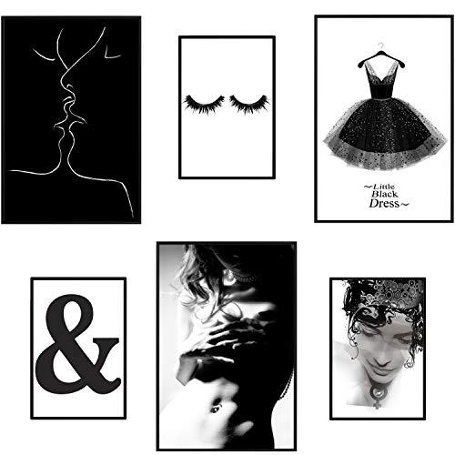 murando Poster Conjunto de 6 Carteles Colección de Posters con Marco Negro Cuadro Impresos Póster con Motivos Artísticos Galería de Pared Enmarcado Negro Blanco Mujer Cuerpo B&W