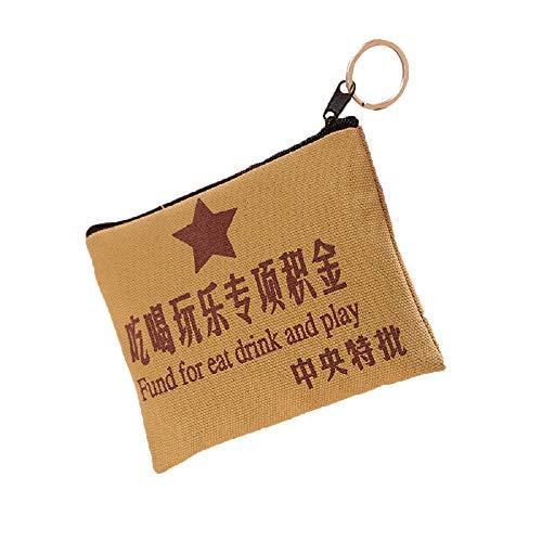 TeeGoo Chinesische Geldbörse mit Reißverschluss und Schlüsselring für Münzen, Kosmetik und Netzkabel, (Fonds für Essen Trinken und Spielen), Small