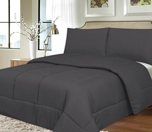 Sweet Home Collection Down Alternative Polyester Comforter Box Stitch Microfiber Bedding - Queen, Gray