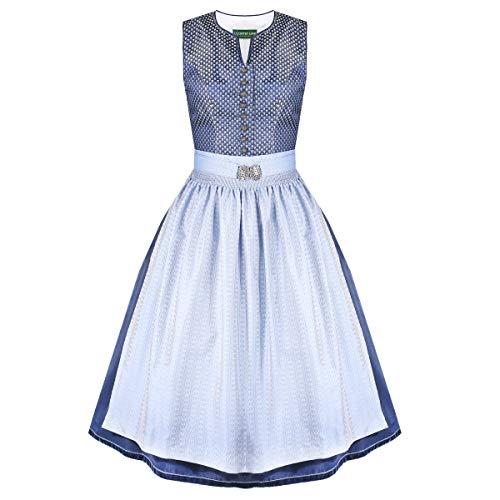 Country-Line Damen Trachten-Mode Midi Dirndl Sandra in Blau traditionell, Größe:40, Farbe:Blau