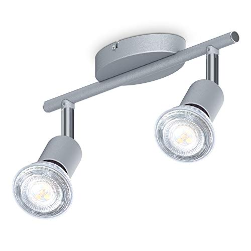 B.K.Licht I 2-flammiger LED Deckenspot I 2x 5W Leuchtmittel GU10 I 2x 400lm I dreh- schwenkbar I IP20 I 4000K neutralweiß I Titanfarbig