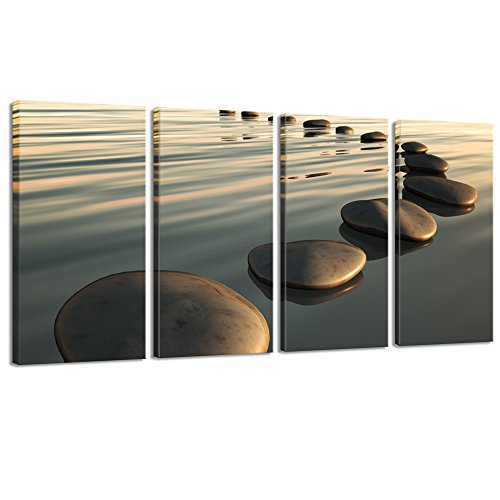 LevvArts - Large Zen Canvas Wall Art Basalt Stone at Sunset Relax Picture Spa Living Room Office Wall Decor Peaceful Scenery Artwork Framed Ready to Hang- 64' W x 32' H Overall