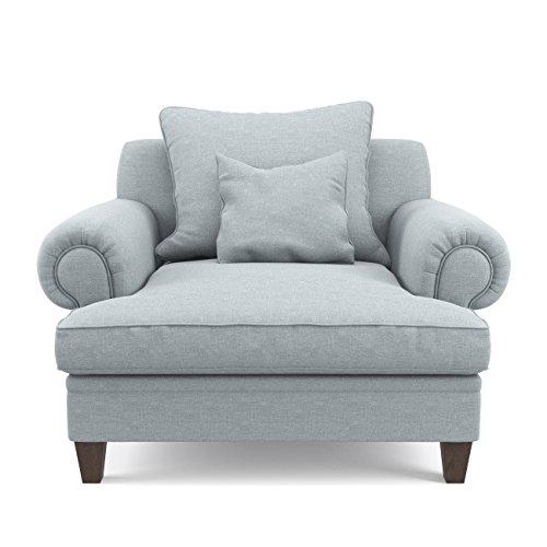 Jellywood®MCRAL XXL Gepolsterter Komfort Sessel mit Armlehnen, Kissen, tiefer Sitzfläche, Sitzhöhe 45 cm grau