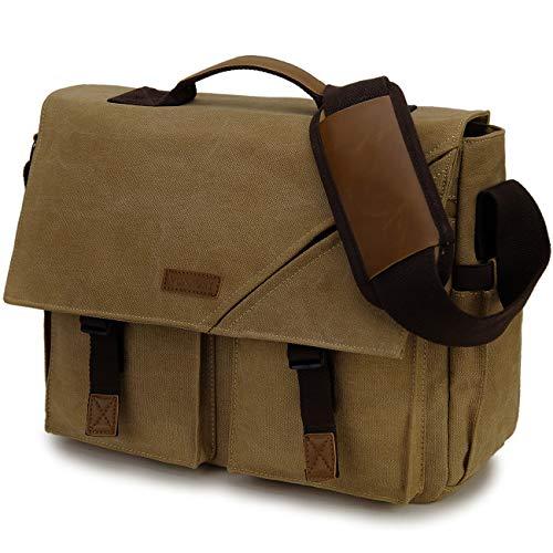 Messenger Bag for Men,Water Resistant Canvas Satchel 14 Inch Laptop Briefcase Vintage Shoulder Bag for Business School Brown