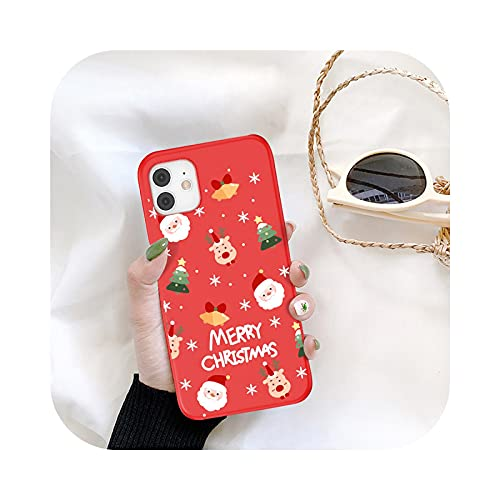 KASHINO Funda de teléfono de Navidad de dibujos animados para iPhone 11 12 Pro Max 7 8 6 6S Plus 12 Santa Claus encantadora cubierta para iPhone XR X Xs SE 2020-T4-para iPhone 12