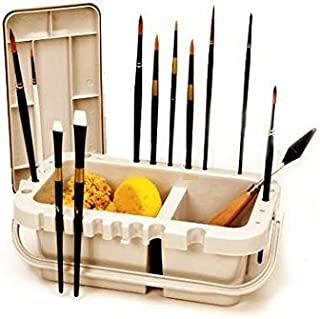 Portable Paint Brush Caddy and Holder with Storage Lid and Water Troughs 10.5 inches Gray Plastic