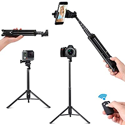 Cleno House Selfie Stick Tripod, 3 in 1 Extendable iPhone Tripod, Camera Tripod for Cellphone and Camera, with Bluetooth Remote for iPhone 8/8 Plus/X/7/7 Plus/Galaxy Note 8/S8/S8 Plus/Google.etc