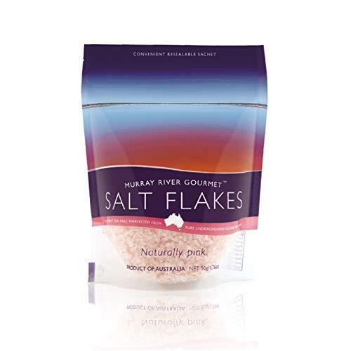 Murray River Salzflocken 50g Mini-Pack Gourmet Rein Naturell Rosa Niedriges Natrium Chef Servierung Salz 100% natürlich und rein reich an Mineralien und Enzymen.