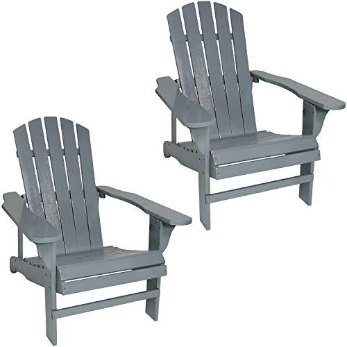 Sunnydaze Coastal Bliss Outdoor Wooden Adirondack Patio Chair Set of 2, Gray