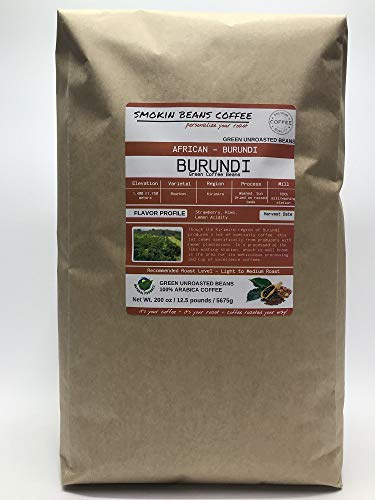12.5 Pounds – Northern Africa – Burundi – Unroasted Green Coffee Beans – Grown In Region Kirimiro – Altitude 1400-1750 Meters – Bourbon – Drying/Milling Process Is Washed, Sun Dried