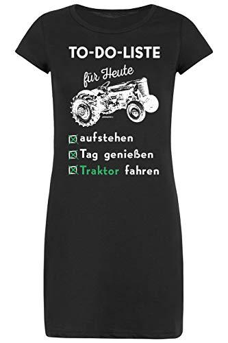 Schlafanzug Landwirt Motiv Bauer Pyjama Damen Nachtwäsche Nachthemd Damen to-Do-Liste für Heute aufstehen Tag genießen Traktor Fahren Geschenkidee für Frauen