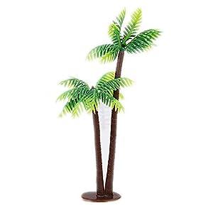 Silk Flower Arrangements HoneyYX 14CM Mini PE Artificial Coconut Palm Tree Micro Plastic Landscape Sandbox Style Palm Island Artificial Plant Decoration Artificial Coconut Palm Tree Pack of 12PCS
