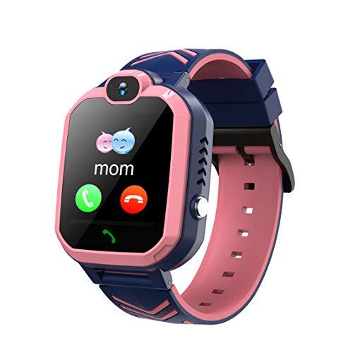 Winnes Inteligente Reloj para Niños, IP67 Impermeable Smart Watch Phone 2 Vías Llamada Reloj Niñas Localizador con SOS Anti-Lost Alarm Táctil Smartwatch para 3-12 Años De Edad (H1 Rosa)