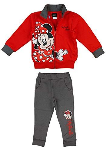 Disney Baby Mädchen Jogging-Freizeit-Sport WARM Baumwolle 2-teiliges Set Sweat-Jacke Reissverschlussjacke Freizeithose, 74 80 86 92 98 104 110 Minnie Größe 80