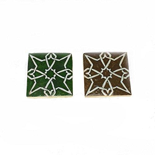 Mattonella Piastrella Marocchina dimensioni cm 10 x 10 x 1,4 h in ceramica dipinta a mano di Fes