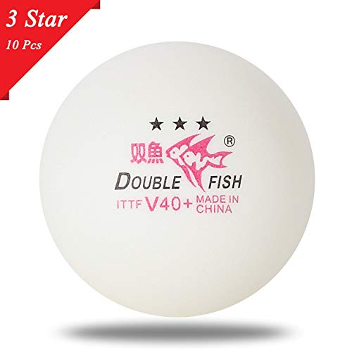 10pcs / Set Double Poisson V40 + 3 Étoiles 40mm Blanc Balles de Tennis de Table ABS Balles Cousues en Plastique Formation Ping Pong